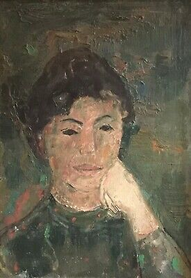 Fine 1950'S German Expressionist Large Oil Painting - Portrait Of Woman In Green