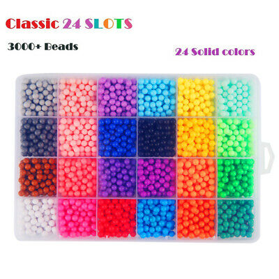 3000-5000 SUPER REFILL Beads Water Fuse Beads 24 SEPARATE Color Packing UK