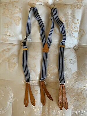 Vintage Mens Trouser Button hole braces, Blue And Grey pattern, leather straps.