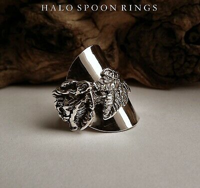 Swedish Silver Spoon Ring With Rose Of Hildesheim Detail Hallmarked 1967
