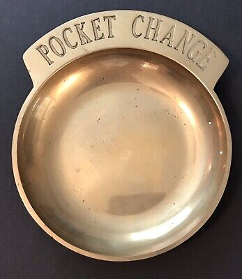 Collectible Vintage Solid Brass Pocket Change Dish Holder Tray Made in Taiwan