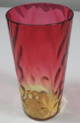 Beautiful Antique Floral & Leaf Amberina Optic Tall Tumbler ~ 5 1/2""