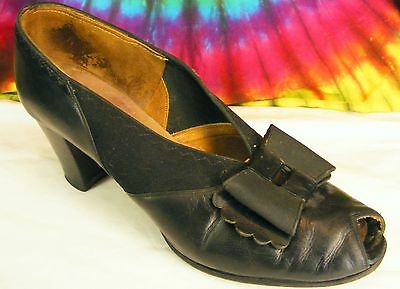 7.5-8 vintage 30s black leather Andrew Geller peep-toe heels pumps bow-toe shoes