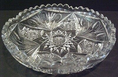 """Libbey Signed American Brilliant Cut Glass 8"""" Large Nappy / Dish / Bowl"""