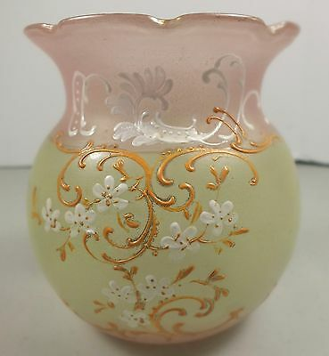 Lovely Hand Blown Glass Spooner Decorated in Pink & Green W White Enamel Flowers