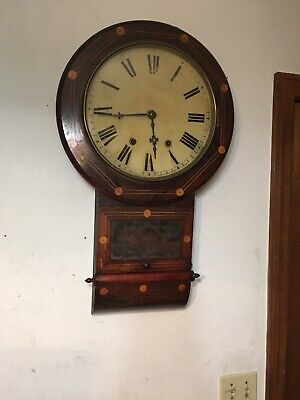 Antique New Haven Clock Co Anglo American Profusely Inlaid Marquetry Wall Clock