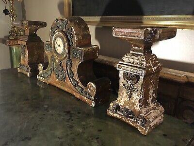 "Antique French Painted Chalk Ware Mantle Clock And Garnitures, Maker ,""DEPOS"""