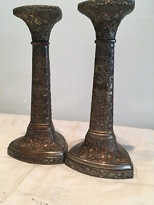 Pair Of Antique Japanese Antimony Ware Metal copper, Silver Ornate Candlesticks