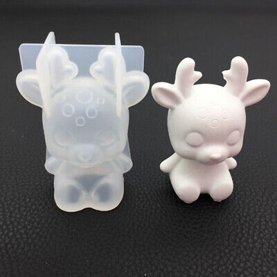 3D Silicone Sika Deer Mold Resin Crystal Epoxy DIY Decoration Soap Candle Mould