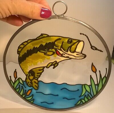 """STAINED GLASS Sun Catcher large mouth bass bait fish cattails 6"""" Wide"""