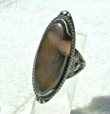 Antique 1920'S Arts & And Crafts Hammered Sterling Silver Moss Agate Ring Sz 5