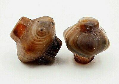 Pair of Antique Agate Tribal Collared Shape Evil Eyes Agate Collared Stone bead