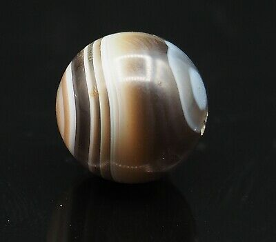 Original Ancient Sulemani Stunning Banded Agate Double Brown white eye Bead