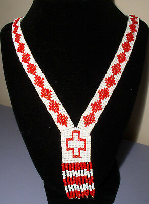 """Vintage Southwest Seed Bead Woven Necklace White Red Cross 16"""" Handmade Beauty!"""