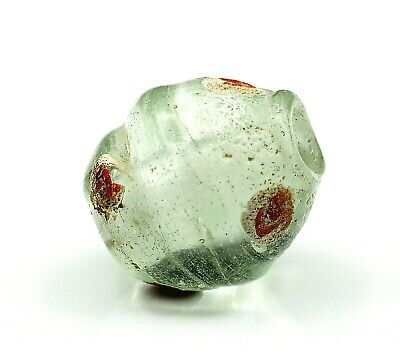 Ancient Glass Magic Medieval  Roman Red Eye Original Bead translucent Ice Bead