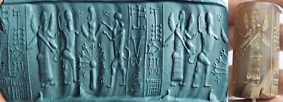 Ancient cylinder seal intaglio Agate Rolling Bead greek God Doing Ceremony bead