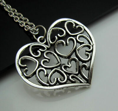 Pendant Necklace Hollow Heart chain Lucky Silver Charm Totem Tibetan Free Love