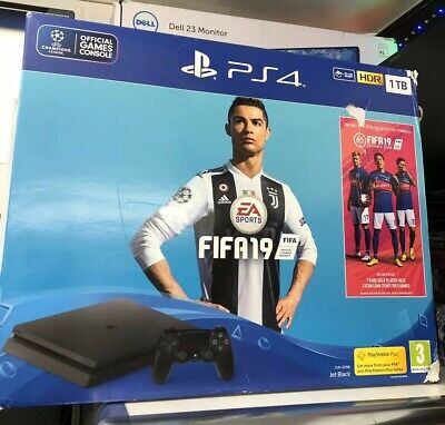 Sony PlayStation 4 Slim 500GB JET BLACK**FIFA 19 Included ***