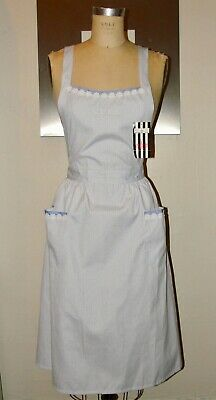 New Vintage Valentino Garavani*Blue Stripe Floral Apron Pinafore Smock Dress*S/M