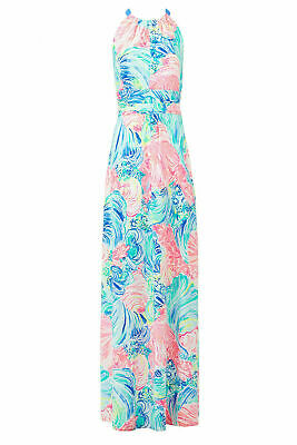 ac5098ec2 Lilly Pulitzer Blue Pink Women's Size Small S Floral Print Maxi Dress $218-  #895