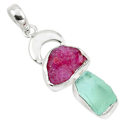 Natural Pink Ruby Rough Aquamarine Rough 925 Silver Pendant M81201