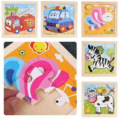 Wooden 3D Puzzle Jigsaw for Children Baby Cartoon Developmental Educational Toy
