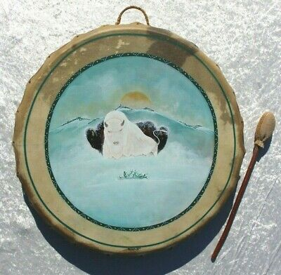 """SW Native American Hand Crafted 24"""" Double Sided Drum White Buffalo by ROSE"""
