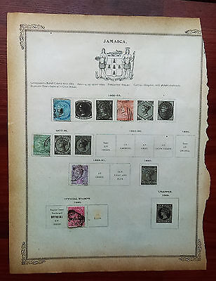 Lot of Original JAMAICA 19th Century Cancelled Hinged Stamps as shown