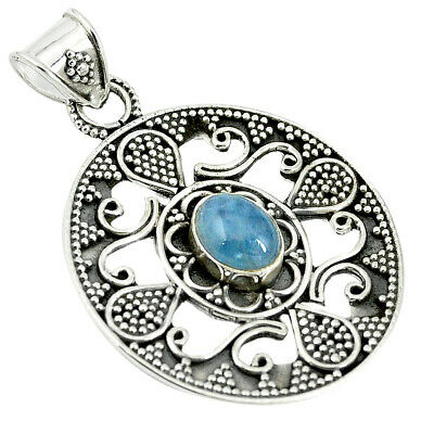 Natural Blue Aquamarine 925 Sterling Silver Pendant Jewelry M24145