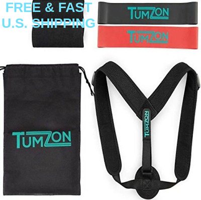 POSTURE CORRECTOR Neck Back Pain Relief Alignment Comfortable W/2 EXERCISE BANDS