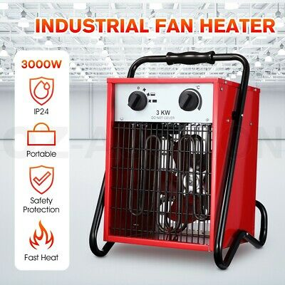 Portable Electric Industrial Fan Heater Fast Heating Air Blower Space Heater Red