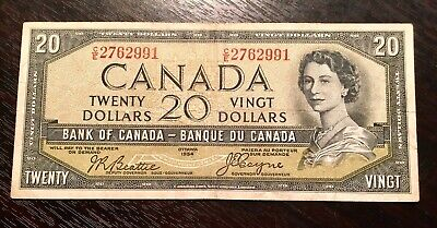 CANADA 1954 $20 DEVIL FACE Beattie-Coyne C/E V.F+
