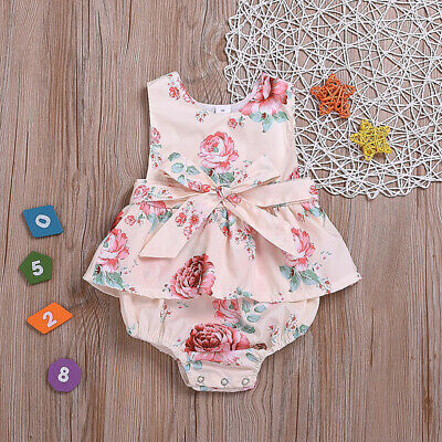 716cb749e Newborn Baby Girls Summer Flower Ruffle Romper Bodysuit Jumpsuit Outfits  Sunsuit