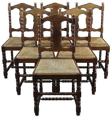 Dining Chairs French Country Farmhouse Vintage 1920 Oak Rush Set 6