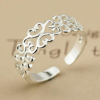 Women's Silver Plated Joined Hollow Heart Fully Adjustable Open Ring Thumb R9V2