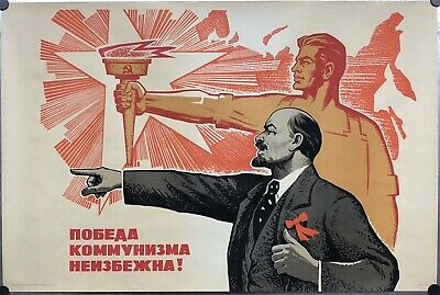 "CCCP POSTER 1969 LENIN COMMUNIST WORKER SICKLE HAMMER TORCH RUSSIAN 34""/86cm #33"