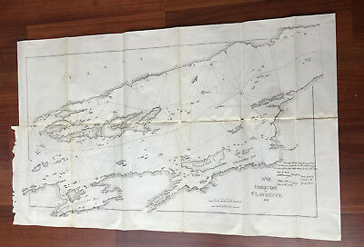 1898 Sketch of 1818 Map Treaty of Ghent. Iroquois Chippaway Bay, Indian Hut