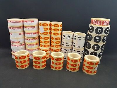Self Adhesive Was/Now Reduced Sale £1 £7 49p Sold Retail Stickers Labels Joblot
