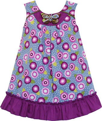 Girls Dress Cotton Floral Print Beaded Butterfly Purple Age 7-14 Years