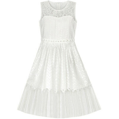 Sunny Fashion Girls Dress White Lace Tassel Hem Princess Party Size 4-8