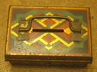 Small TIN Hand Painted Bank Made in CZECHOSLOVAKIA Pre-WWII? Locks but NO KEY!!