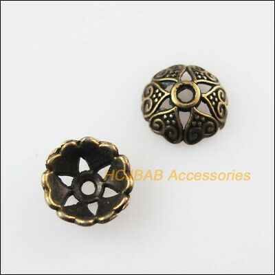 60 New Flower Heart End Caps Antiqued Bronze Tone Spacer Beads 8mm