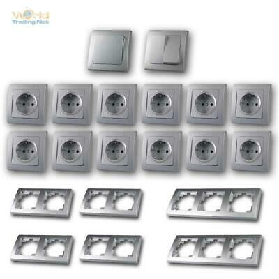 "Delphi Switch Sockets and Frame Set Niveau "" Pieces up Flush Mounted Silver"