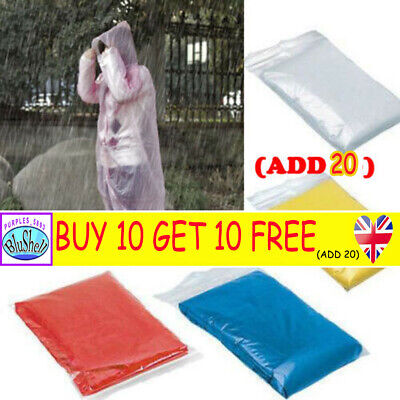 DISPOSABLE Poncho Rain Coat Festival Camping Emergency Waterproof Outdoor Hike P