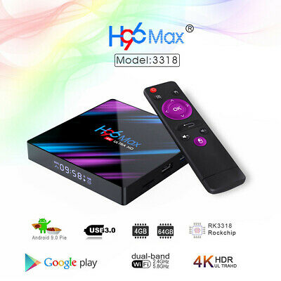 H96 MAX RK3318 Android 9.0 4G+64GB Quad Core 4K Smart BT 4.0 Top LED TV Box NEW