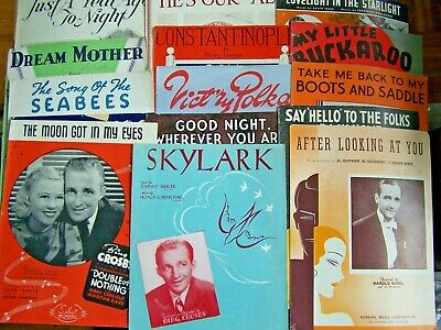 15- PIECES OF VINTAGE SHEET MUSIC-1920's to 1940's ERA-MIXED LOT--Lot #1