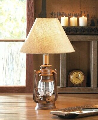 Camping Style Lantern Table Lamp w/ Burlap Neutral Shade Vintage Style