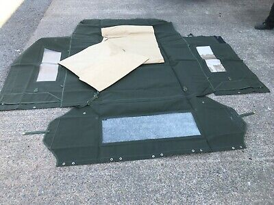 "Land Rover Series Canvas Hood Khaki 88"" Side and Rear Window MINT NEW"