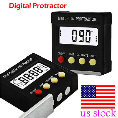 US Cube Inclinometer Angle Gauge Meter Digital Protractor Electronic Level Box
