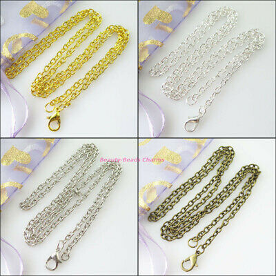 4 Gold Dull Silver Bronze Plated Ring Chains With Lobster Clasps Necklaces 50cm